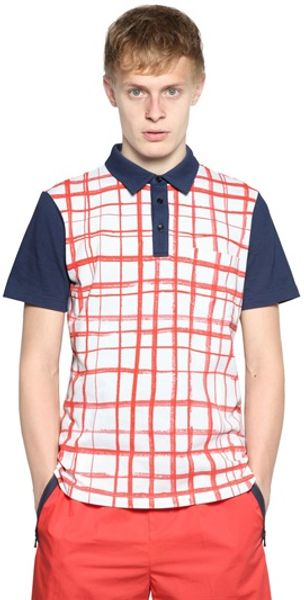 Carven Checked Cotton Piqué Polo - Lyst