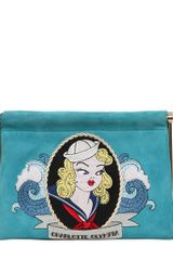 Charlotte Olympia First Mate Embroidered Suede Clutch - Lyst