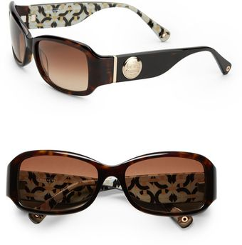 Coach Rectangular Tortoise Acetate Sunglasses - Lyst