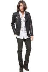 Diesel Black Gold Leather Biker Jacket - Lyst