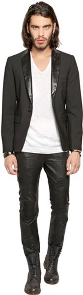 Diesel Black Gold Wool Blend Leather Lapel Jacket - Lyst