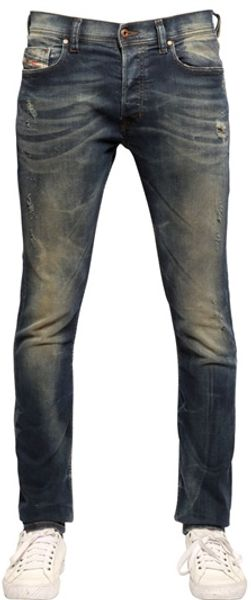 Diesel Tepphar Distressed Super Slim Jeans - Lyst