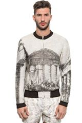 Dolce & Gabbana Printed Cotton Blend Bomber Jacket - Lyst