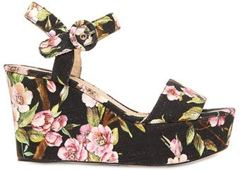 Dolce & Gabbana 90mm Floral Canvas Wedge Sandals - Lyst
