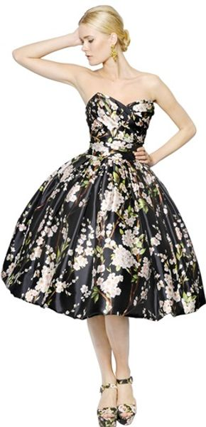 Dolce & Gabbana Silk Mikado Peach Blossom Long Dress - Lyst