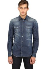 Dolce & Gabbana Destroyed Cotton Denim Western Shirt - Lyst
