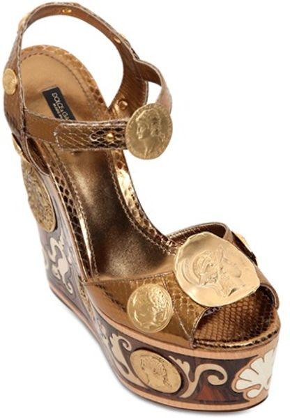 Dolce Amp Gabbana 150mm Ayers Inlaid Wooden Wedges In Gold