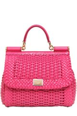 Dolce & Gabbana Medium Sicily Woven Faux Leather Bag - Lyst