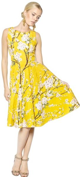 Dolce & Gabbana Cotton Silk Peach Blossom Dress - Lyst