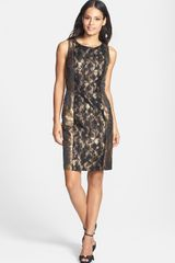Donna Ricco Metallic Lace Jacquard Sheath Dress - Lyst