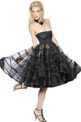 DSquared2 Black Flounced Tulle Dress - Lyst