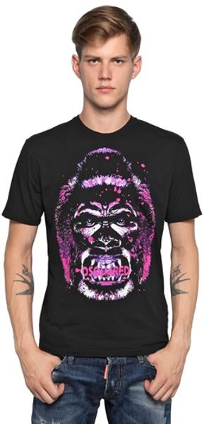 Dsquared2 Cotton Jersey Gorilla T-shirt in Black for Men - Lyst