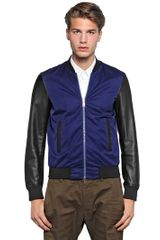 DSquared2 Nylon and Leather Bomber Jacket - Lyst