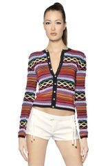 DSquared2 Viscose Cotton Knit Jacquard Cardigan - Lyst