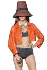 DSquared2 Crocodile Embossed Leather Cocoon Jacket - Lyst
