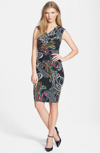 Ellen Tracy Print Cowl Neck Jersey Sheath Dress - Lyst