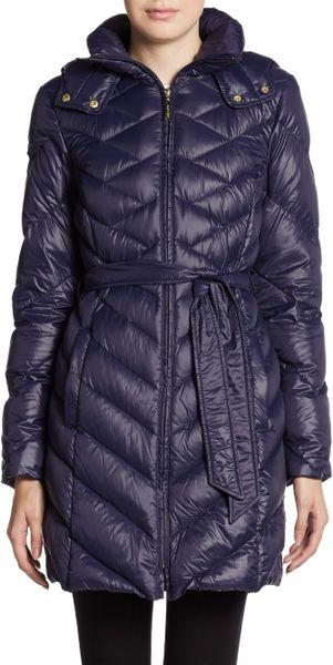 Ellen Tracy Chevron Pattern Puffer Coat In Blue Marine
