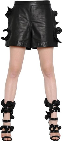 Emanuel Ungaro Ruffled Leather Shorts - Lyst