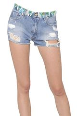 Emilio Pucci Beaded Destroyed Cotton Denim Shorts - Lyst