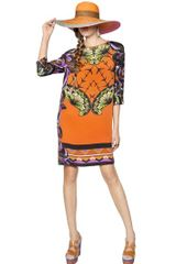 Etro Printed Silk Cady Dress - Lyst