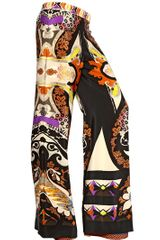 Etro Printed Silk Crepe De Chine Trousers - Lyst