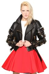 Fausto Puglisi Embroidered Buckled Nappa Leather Jacket - Lyst