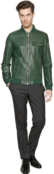 Mens green leather bomber jacket
