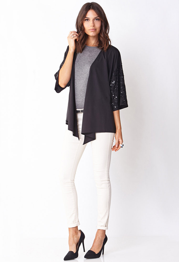 Forever 21 Contemporary Sequined Kimono Cardigan in Black ...