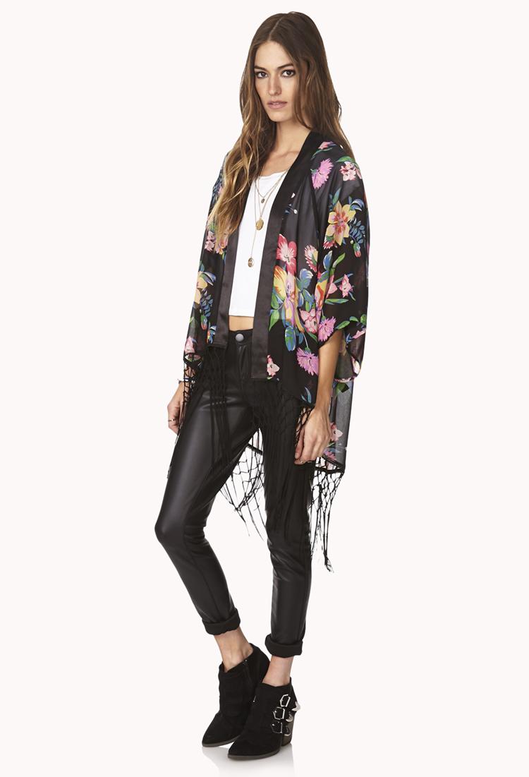 Forever 21 Flower Child Fringe Kimono in Black | Lyst