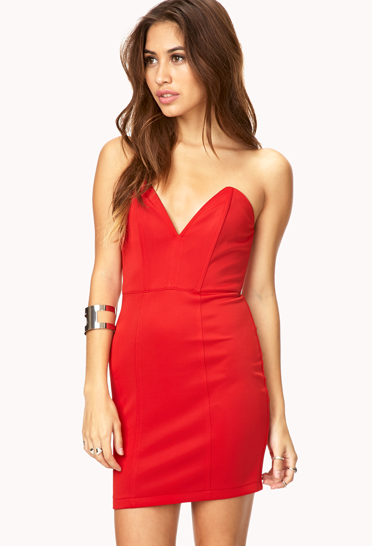 Lyst - Forever 21 Bold Moves Bodycon Dress in Red - photo #40