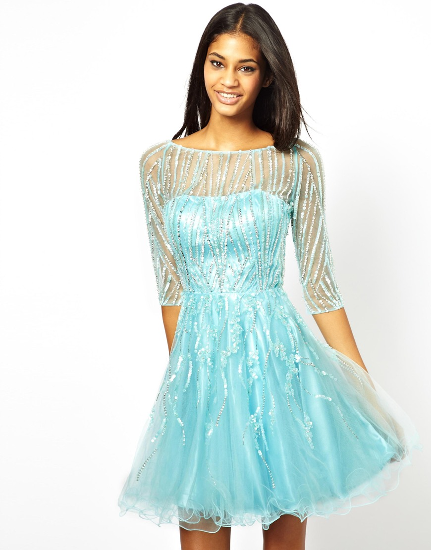 Lyst - Forever Unique Prom Dress with 34 Sleeves in Blue