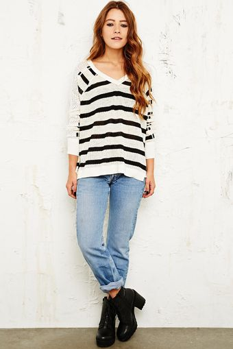 Free People Lou Stripe Vneck Sweater in Ivory - Lyst