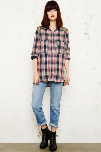 Free People Sugar Sequin Flannel Shirt in Navy - Lyst