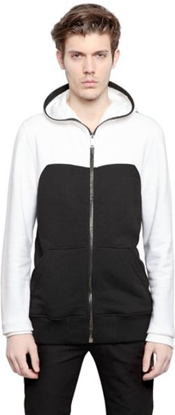 Gareth Pugh Two Tone Cotton Fleece Hooded Sweatshirt - Lyst