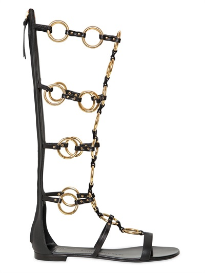 Giuseppe Zanotti 10mm Leather Chained Gladiator Sandal In