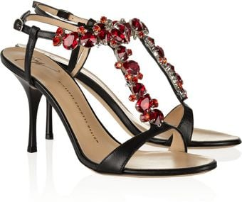 Giuseppe Zanotti Crystal-Embellished Leather Sandals - Lyst