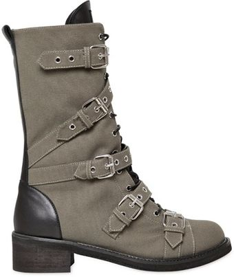 Giuseppe Zanotti 40mm Canvas Leather Belted Combat Boots - Lyst