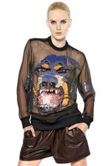 Givenchy Rottweiler Embroidered Silk Organza Top - Lyst