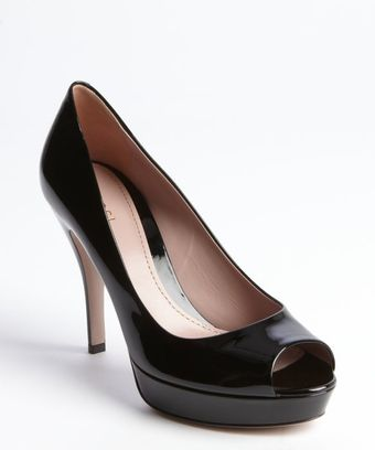 Gucci Black Patent Leather Peep Toe Platform Pumps - Lyst