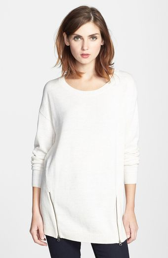 Halogen Zip Detail Long Sleeve Highlow Sweater - Lyst