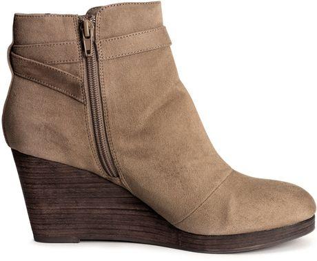 h m wedge heel boots in beige mole lyst