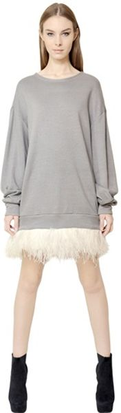 Jay Ahr Ostrich Feathers Cotton Fleece Dress - Lyst