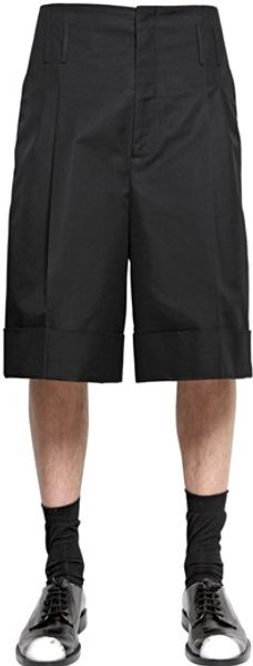 Jil Sander Stretch Cotton Gabardine Pence Shorts - Lyst