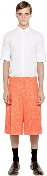Jil Sander Cotton Poplin Cuffed Short Sleeves Shirt - Lyst