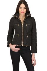 Just Cavalli Quilted Gold Chain Nylon Down Jacket - Lyst