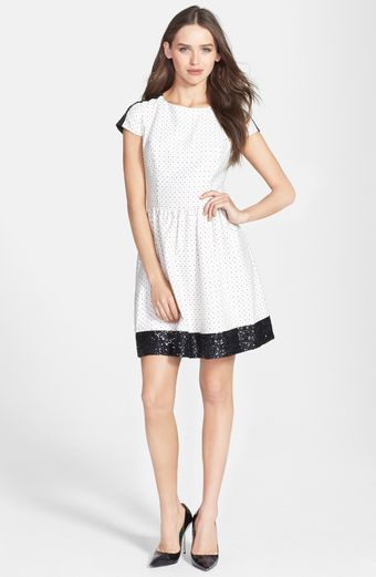 Kensie Sequin Trim Jacquard Dot Dress - Lyst