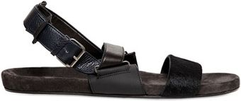 Lanvin Leather and Ponyskin Sandals - Lyst