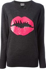 Markus Lupfer Pink Smacker Lip Sequin Sweater - Lyst