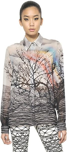 Mary Katrantzou Printed Silk Georgette Shirt - Lyst