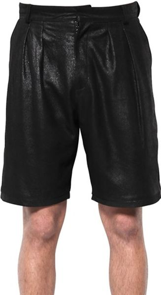 McQ by Alexander McQueen Leather Shorts - Lyst